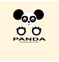 panda black and white logo vector image