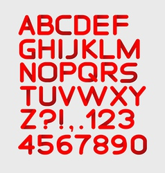Paper red strict alphabet rounded Isolated on vector image