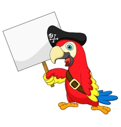 Parrot pirate cartoon with blank sign vector