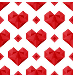 Polygonal hearts pattern vector