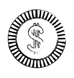 Sketch coin currency money cash icon vector