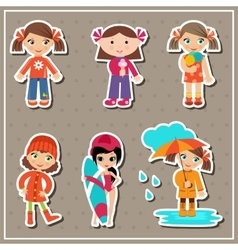 Stickers with little girls vector image vector image