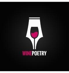 Wine glass pen concept background vector