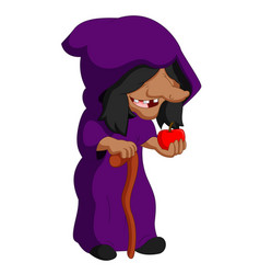 witch holding an apple vector image