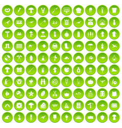 100 hobby icons set green circle vector