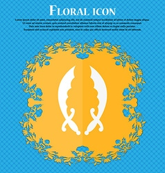 Saber icon floral flat design on a blue abstract vector