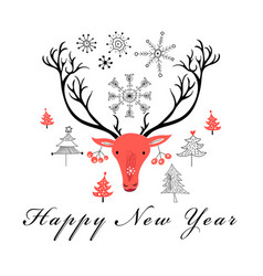 christmas card with a portrait of a deer vector image