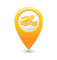 swiming icon yellow map pointer vector image
