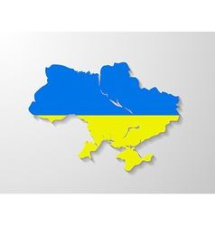 Ukraine flag map with shadow effect vector