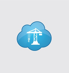 Blue cloud building crane icon vector
