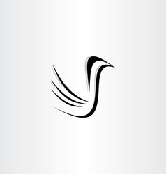 Black bird icon stylized vector
