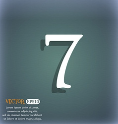Number seven icon sign on the blue-green abstract vector