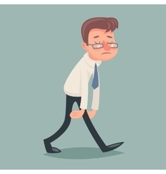 Vintage businessman walk sad tired weary character vector