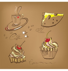 a cup of coffee cupcake and cheese vector image