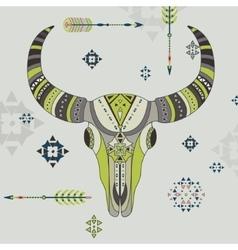 a buffalo skull vector image