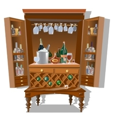 Large cabinet bar with bottles and kitchenware vector