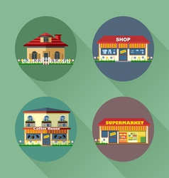Houses and buildings set flat style vector