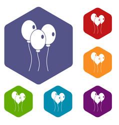 Balloons icons set hexagon vector