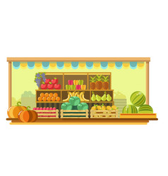 Big market stand with ripe organic fruits and vector