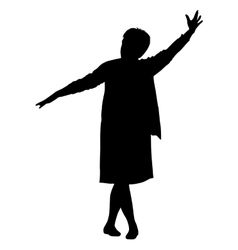 Black silhouette woman with her hands raised vector image vector image