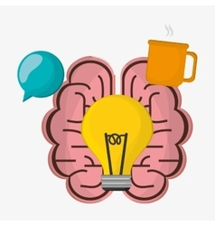 Brain bulb idea cup coffee vector