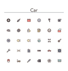 Car Colored Line Icons vector image