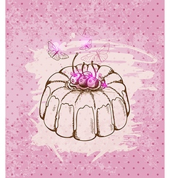 Cherry cake vector image vector image