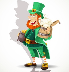 Cute Leprechaun with beer and pot of gold vector image