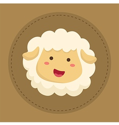 Cute sheep smiling in brown circle vector