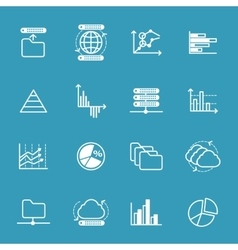 Data storage and data analysis icons vector