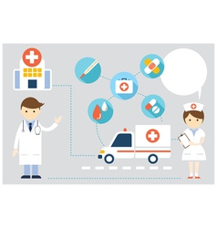 Doctor and nurse present with icons and copy space vector