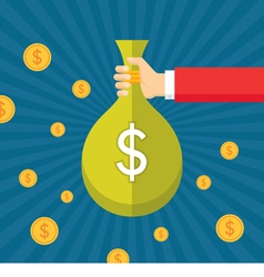 Dollar bag in human hand vector image vector image