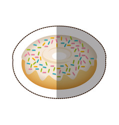 Donut with colored sparks icon vector
