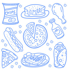 Doodle of various food set vector