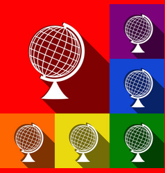 Earth globe sign set of icons with flat vector