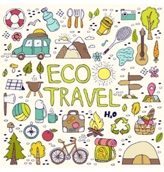 Eco travel element hand drawing doodles vector