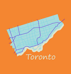 Flat color map of toronto canada city plan of vector