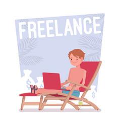 freelance happy man vector image