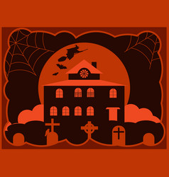 halloween creepy house with a cemetery a flying vector image