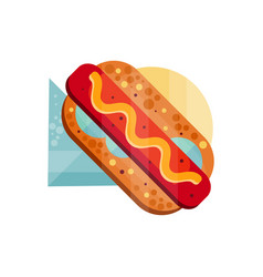 hot dog with mustard on a vector image