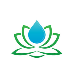 lotus and water drop logo image vector image vector image