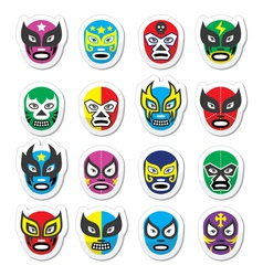 Lucha libre luchador mexican wrestling masks icon vector