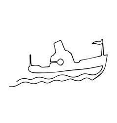 one continuous line steamship boat on waves with vector image vector image