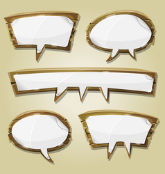 paper signs on wood speech bubbles set vector image vector image