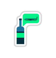paper sticker on white background wine plane vector image