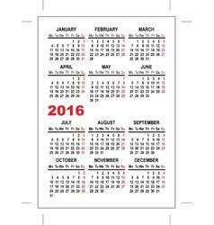 Pocket calendar 2016 template vector image