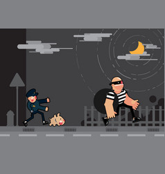 police and dog chase thief vector image
