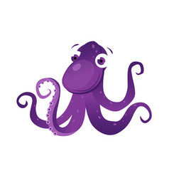 purple octopus sea creature colorful cartoon vector image vector image