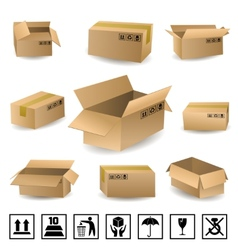 Shipping Boxes Set vector image vector image