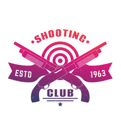 Shooting club emblem with two crossed shotguns vector